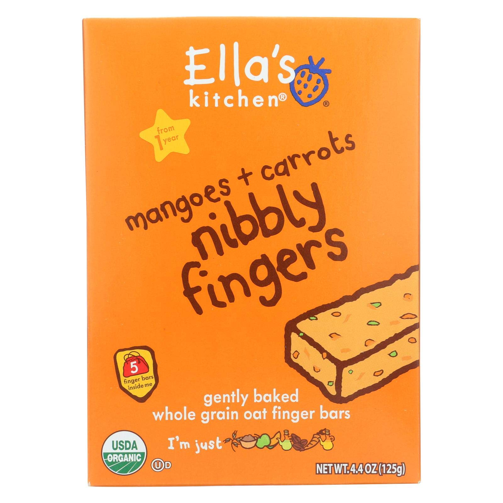 Ella's Kitchen Nibbly Fingers - Mangoes Carrots - Case of 12 - 4.4 oz.