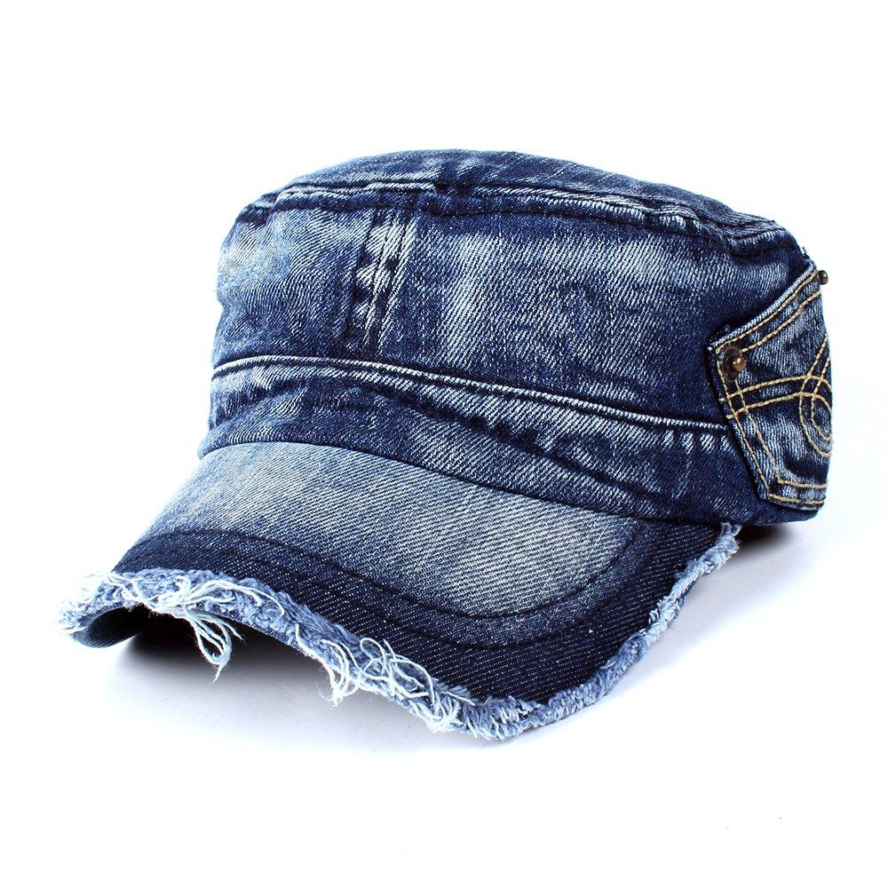 117ba04b324 Vankerful Vintage Washed Denim Cotton Peaked Baseball Cap Distressed Cadet  Army Cap Military Hat ...