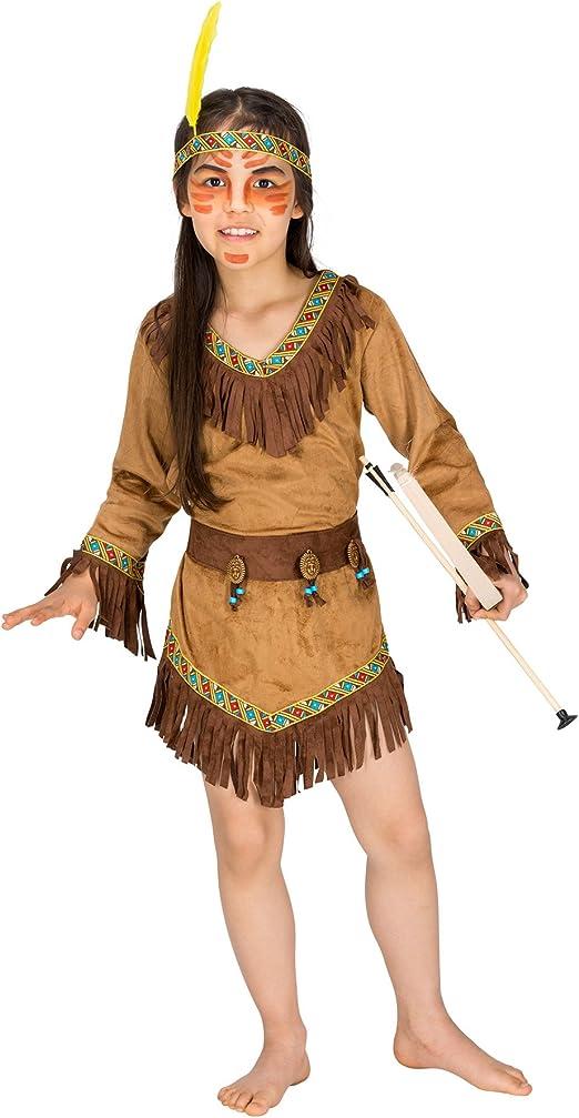 dressforfun 900122 - Disfraz de Niña India, Vestido de Imitación ...