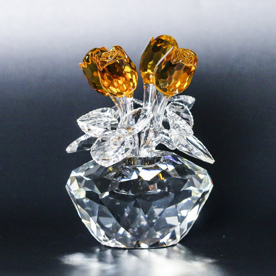 Spring Bouquet Crystal Glass Flowers Yellow Rose Figurine Ornament Gift-boxed