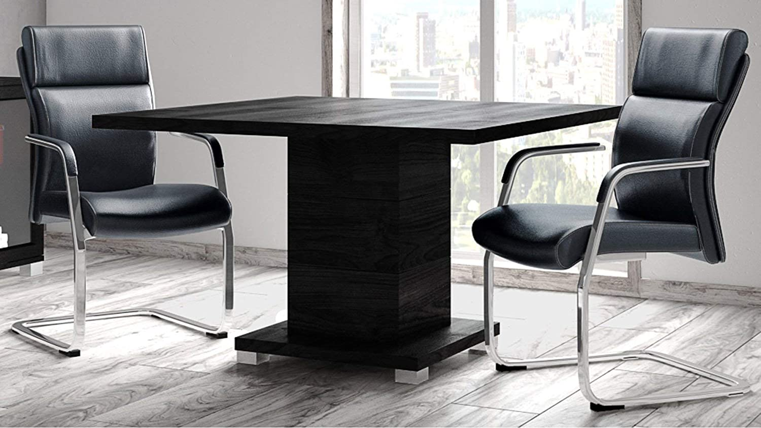 Ford Executive Modern Conference Table in Black Oak Finish – Square