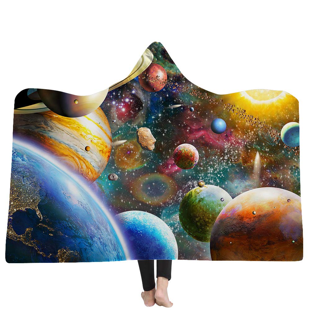 Cool Modern Style Space Planet Print Wearable Hooded Blanket,Luxuy Thickened Hypoallergenic Sherpa Fleece Blanket,Ultra Soft and Warm,Winter TV Computer Throwing Blanket for Adults /& Kids