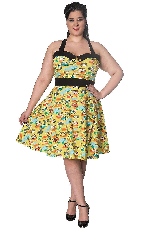 Banned Starlight Vintage Retro Plus Size Halterneck Kleid günstig ...