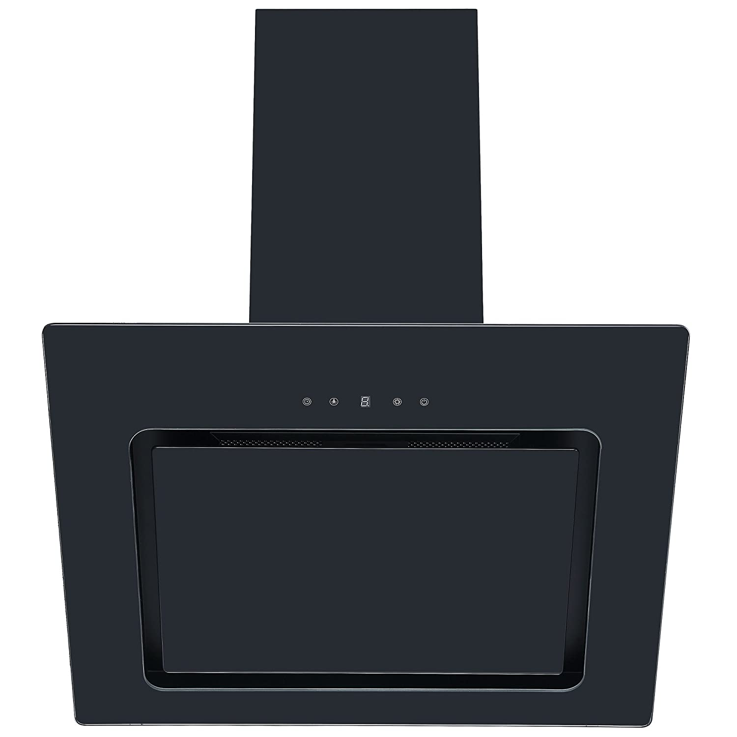 Cookology VER605BK 60cm Black Angled Glass Chimney Cooker Hood | Touch Controls [Energy Class C]