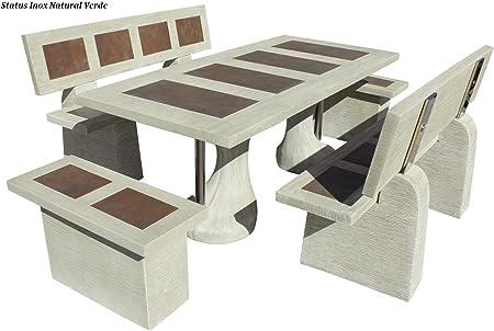 Conjunto Mesa Comedor Jardin DE Piedra Artificial con Fibra Y Acabados DE Acero Inoxidable. Status INOX Color (Verde): Amazon.es: Hogar