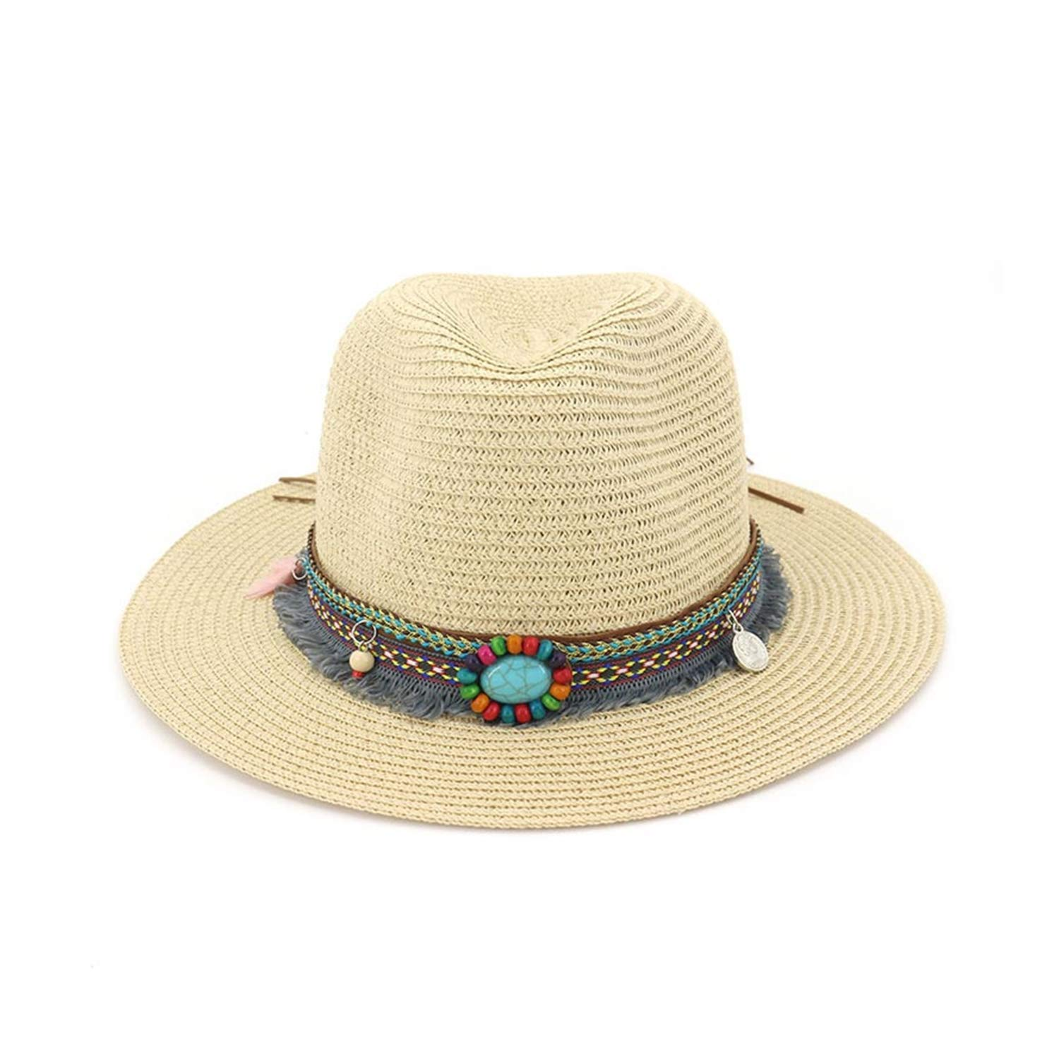 ANNEELA Handmade Knitted Straw Hat Ribbon Stone Accessories Womens Jazz Caps Outdoor S