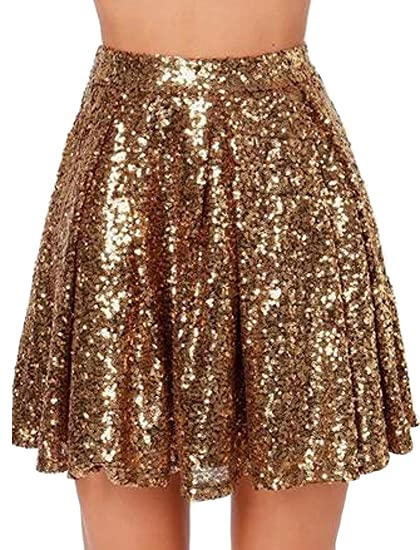 d6581d6aa0 Cromoncent Womens High Rise Pleated Glitter Sequins Solid Mini Skater Skirts  at Amazon Women's Clothing store: