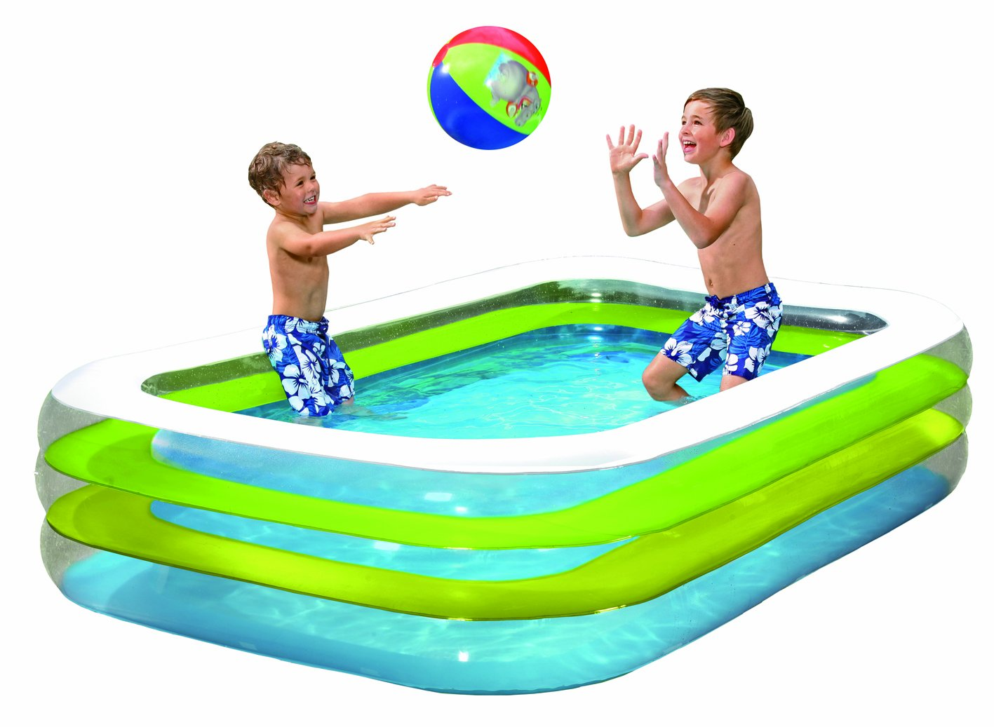 Swimmingpool aufblasbar rechteckig  Wehncke 12240 Jumbo Pool 262 x 175 x 56 cm, transparent: Amazon.de ...