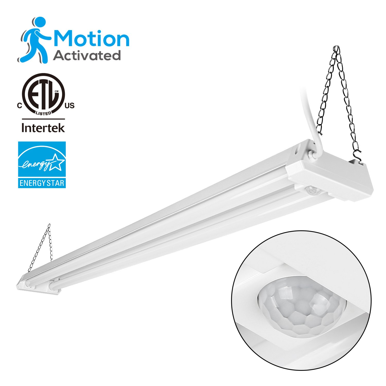 4ft Linkable LED Motion Activated Utility Shop Light, 40W (120W T8 Tubes Equiv.) LED Ceiling Fixture, 4100lm, Energy Star & ETL Listed,5000K Daylight, for Garage/Basement/Workshop