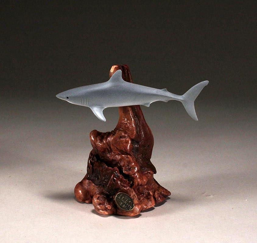 BLUE SHARK /& DIVER SNORKELER SWIMMER by JOHN PERRY sculpture statue art Pellucid