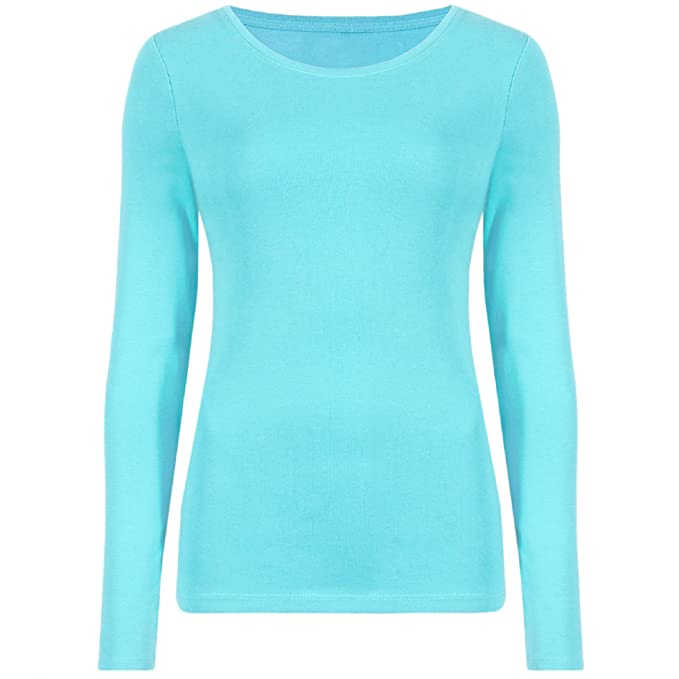 eb866c0526332d ZET New Ladies Plus Size Long Sleeve T-Shirt Womens Stretch Plain Top Sizes  8-26  Amazon.co.uk  Clothing