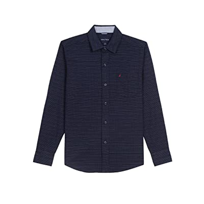 Nautica Boys' Long Sleeve Button Down Shirt with Colored Stitches