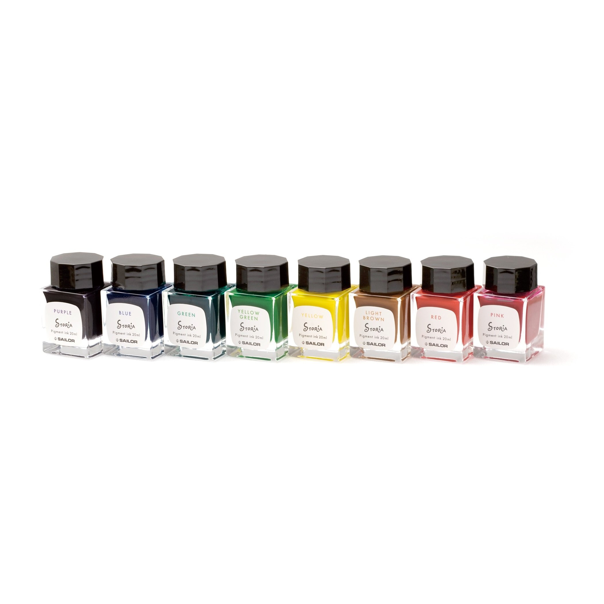 Sailor Fountain Pen mini Bottle 20ml Ink 8 Color Gift Set - Pigment Based '' STORiA '' by Sailor (Image #1)