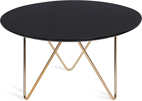 Kate and Laurel Spaulding Round Modern Coffee Table, Black and Gold