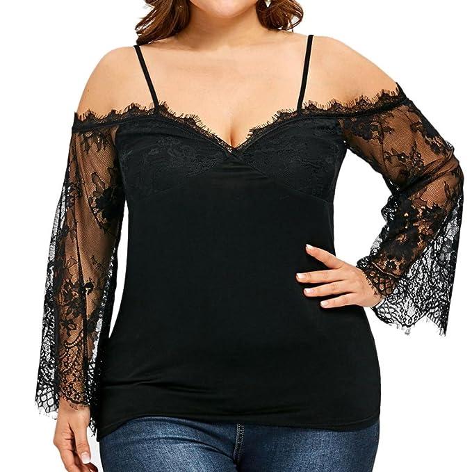 MRULIC Damen Große Größe Frauen Schulterfrei T-Shirt Spitze Langarm Casual  Tops Bluse(Schwarz 48ba6c75d3