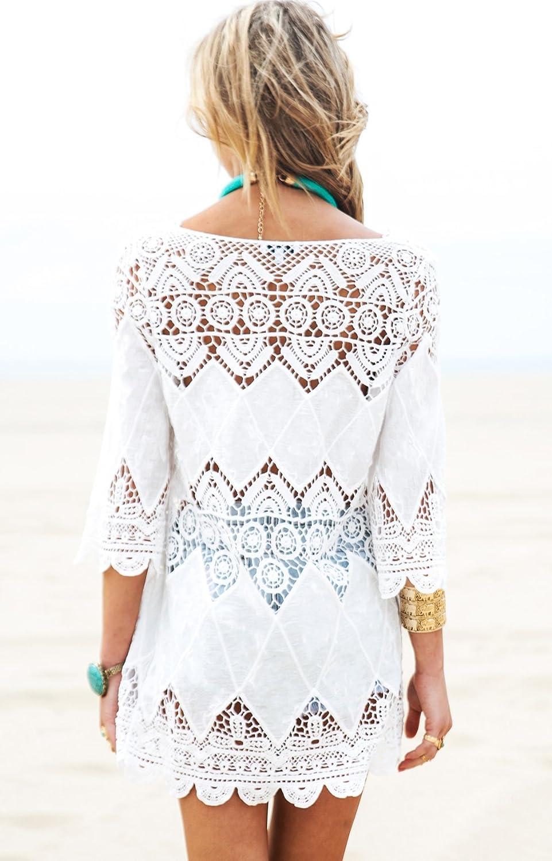 DNFC Strandkleid Damen Badeanzug Kurz Sommer Strand Kleider Beach Kleid Sch/öne Spitze Strandkleider Bikini Cover Up f/ür Urlaub