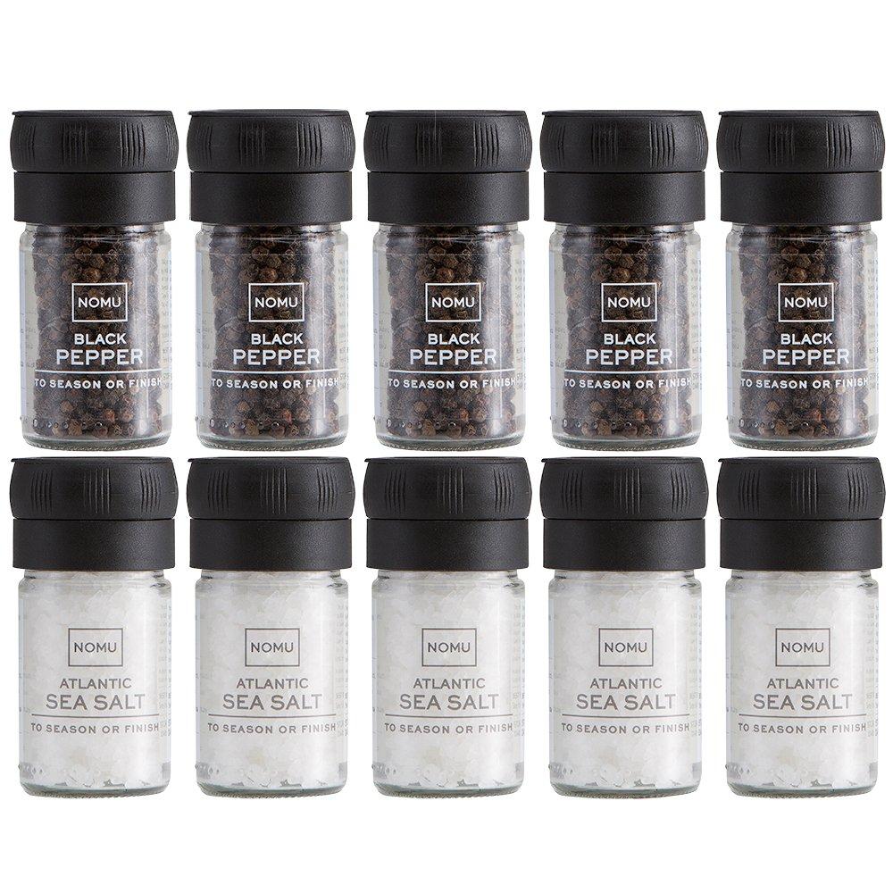 NOMU Filled Salt & Pepper Grinders Sets (Bulk 5-Pack) | Foodservice, Catering, Party, Restaurant Bundle