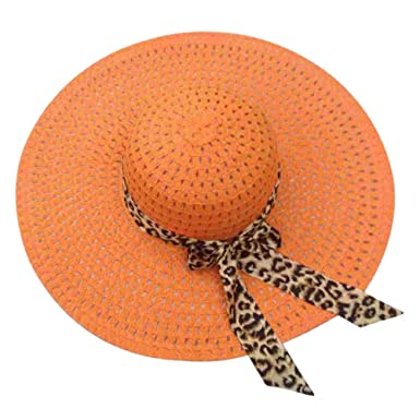 c99585717bb16 SODIAL(R) Orange Summer Exquisite Leopard Ribbon Bowknot Decorated Openwork  Sun Hat For Women  Amazon.co.uk  Clothing
