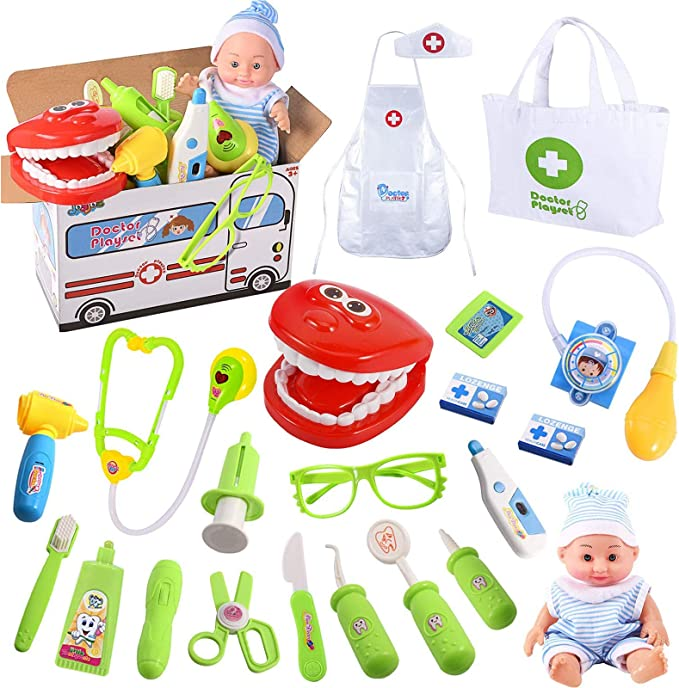 Beelittle Toy Doctor Kit for Kids Doctor Coat with Stethoscope Medical Kit Medical Toy Doctor Pretend Play Kit Nurse Dress Up Costume Doctor Role Play Set for Little Girls Boys Age 3+