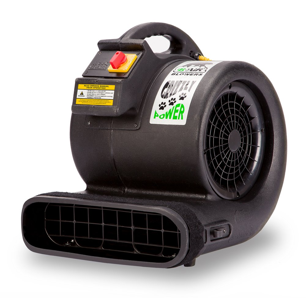B-Air Grizzly GP-1 1 HP 3550 CFM Air Grizzly Mover Carpet Dryer Floor Fan for Water Damage Restoration and Pet Cage Dryer Black