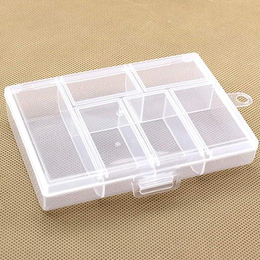 YOUNICER Caja de plástico portátil con 6 Compartimentos ...