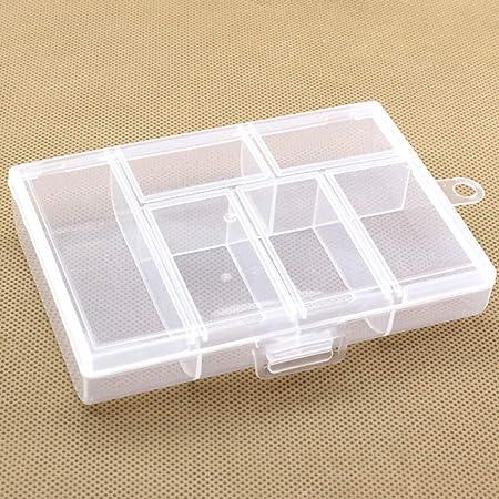 Lin XH Caja separadora de plástico extraíble y caja de almacenamiento para piezas pequeñas, herramientas y manualidades, 6 rejillas, transparente blanco: Amazon.es: Hogar