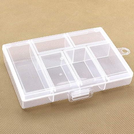 BIKITIQUE Caja portátil de plástico con 6 Compartimentos, contenedor de Almacenamiento Caja pequeña Transparente