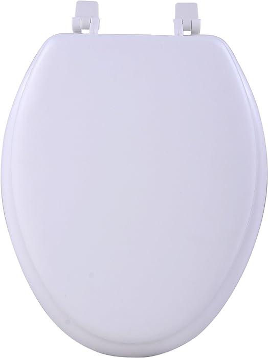 Achim Home Furnishings White TOVYELWH04 19-Inch Fantasia Elongated Toilet Seat, Soft