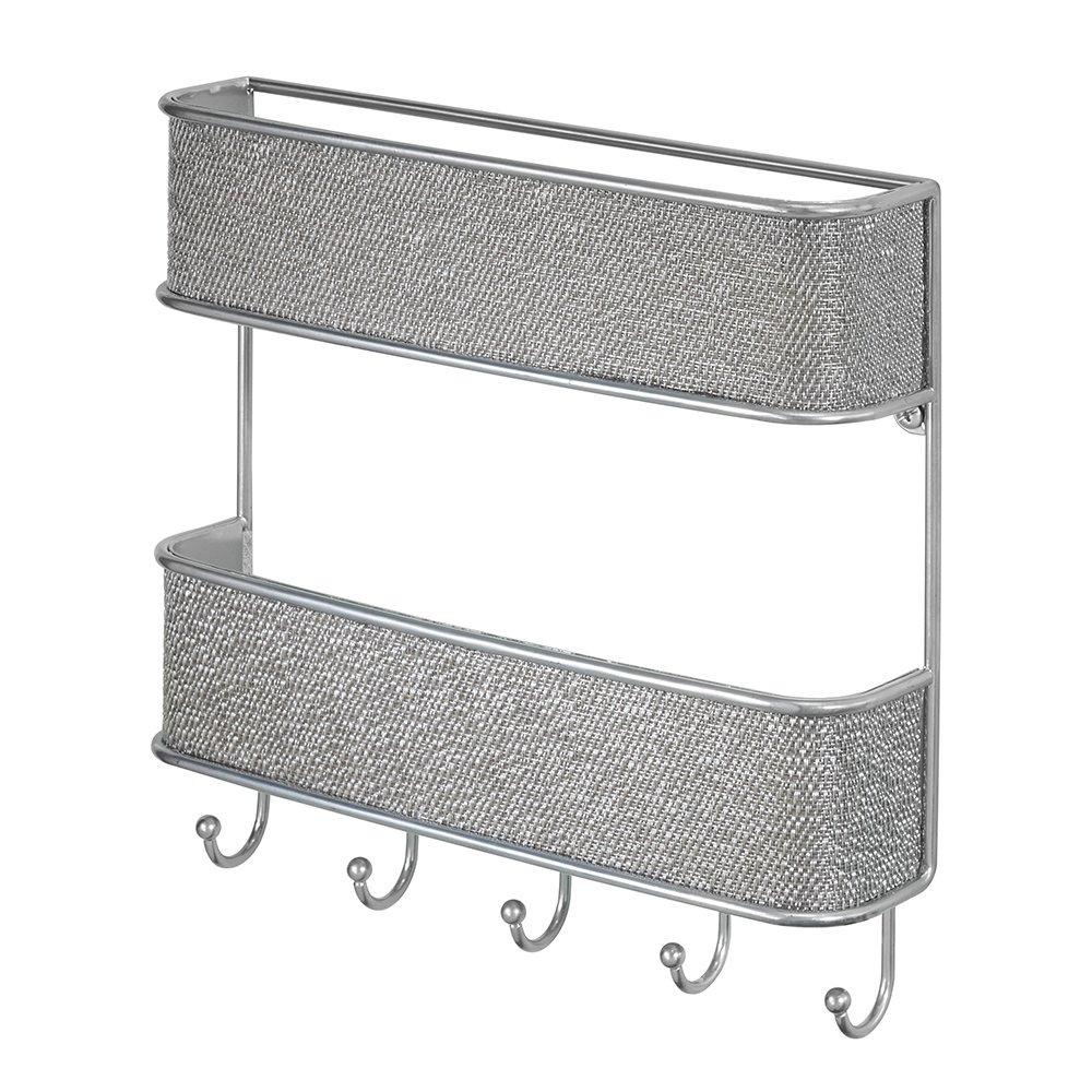 InterDesign Twillo Organizer, mit Briefablage und Schlüsselbrett, Ablagesystem für die Wand im Flur aus Metall und Kunststoff, bronzefarben 95870