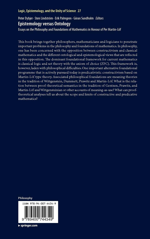 epistemology versus ontology dybjer p lindstrm sten palmgren erik sundholm b g