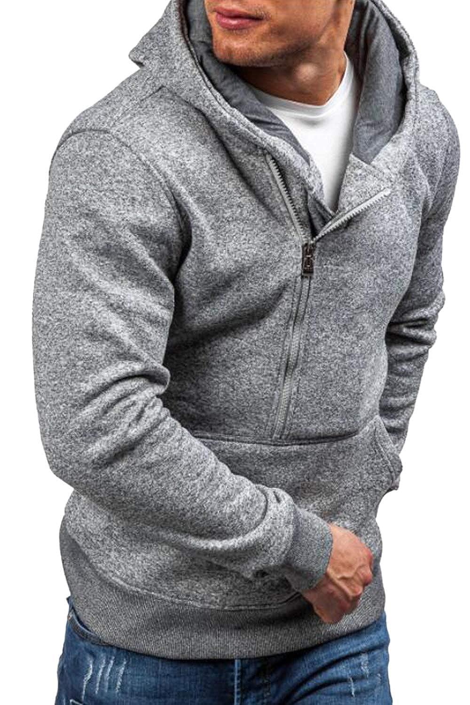 Simgahuva Mens Slim Fit Long Sleeve Lightweight 1//2 Zip Hoodie with Kanga Pocket
