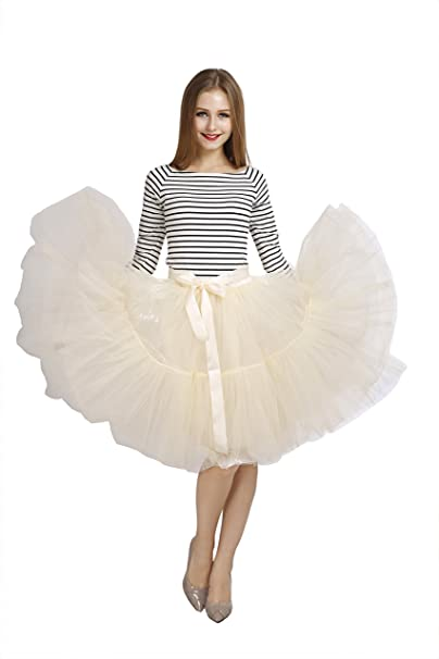 629d521a53 Colleer Women Petticoat Tulle Skirt, 5-Layer Vintage 50s Crinoline Tutu  Underskirts Dress for Wedding Party Anniversary 10 Colors with Belt
