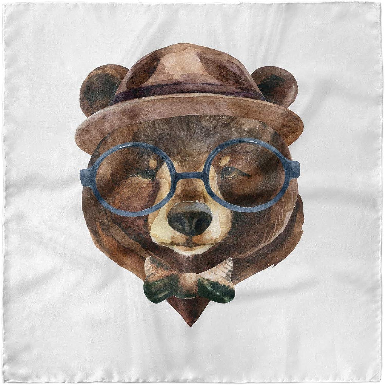 Woodland Hipster Bear Glasses Lunarable Face Head Scarf Hair Wrap