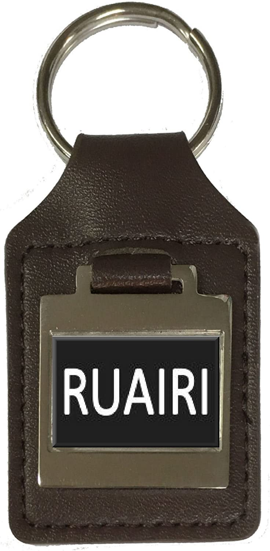 Ruairi Leather Keyring Birthday Name Optional Engraving