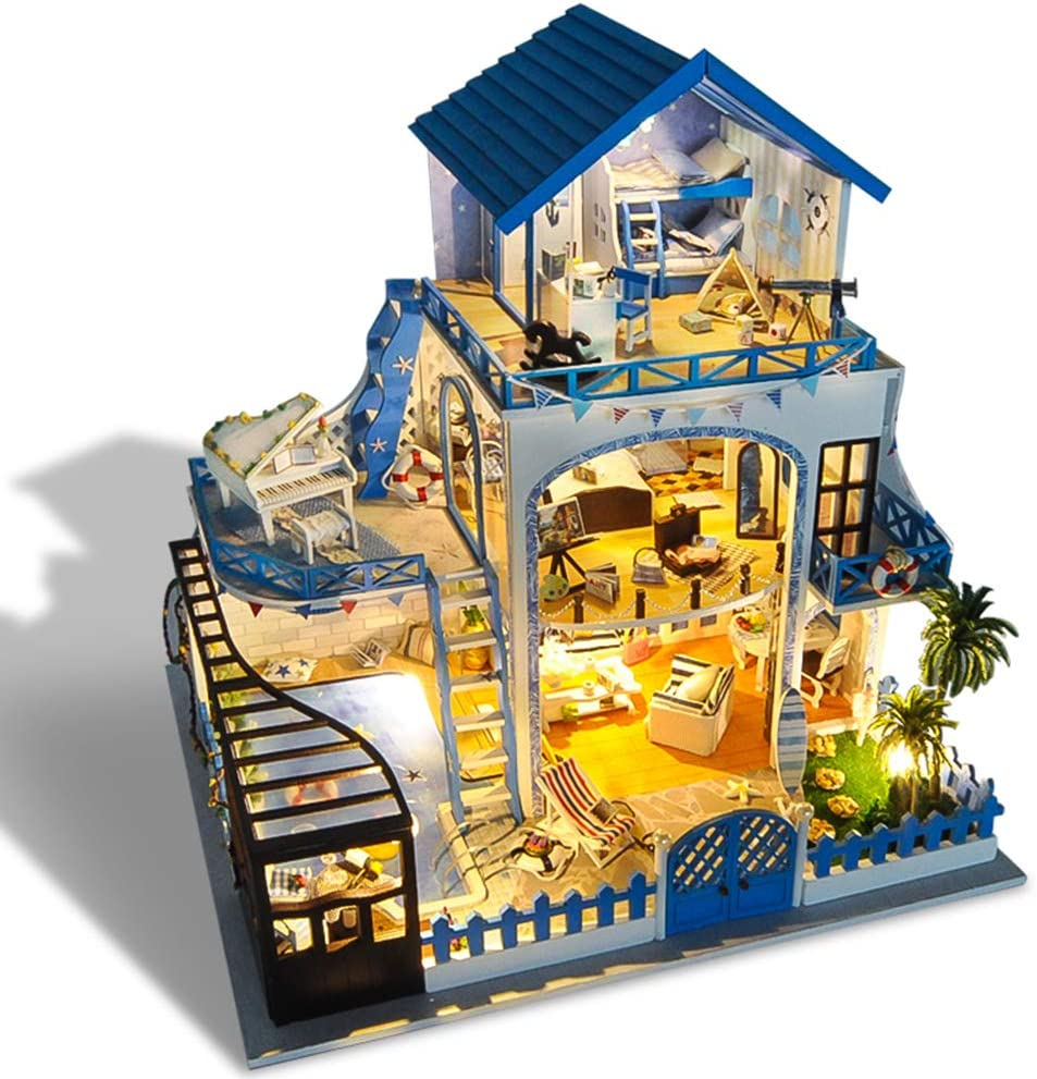 Kisoy Miniature DIY Dollhouse Kit with Furniture Accessories Creative Gift for Lovers and Friends (Aegean Sea) with Dust Proof Cover and Music Movement