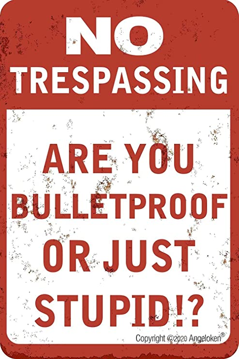 Metal Tin Sign No Trespassing Bulletproof Stupid Quotes Retro Wall Signs Plaques