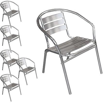 6x Aluminium Gartenstuhl Stapelstuhl Bistrostuhl Terrassenstuhl Balkonmöbel