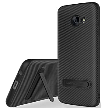 Funda Galaxy A5 2017 Negro , ivencase Anti-Arañazos Suave TPU Carcasa Metal Stand [Fibra de Carbono] Silicona Funda para Samsung Galaxy A5 2017 5.2