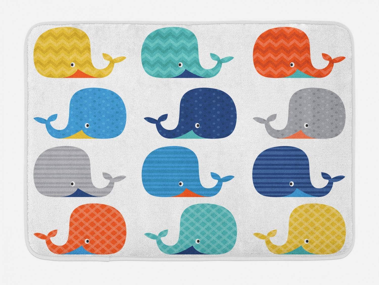 "Lunarable Cartoon Bath Mat, Fish Sea Nautical Funny Colorful Whales in Stripes Dots Geometric Zig Zag Chevron, Plush Bathroom Decor Mat with Non Slip Backing, 29.5"" X 17.5"", Multicolor"