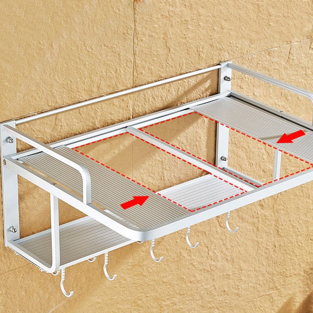 Space Aluminum Rack Wall-mounted Microwave Oven Rack Double Layer Kitchen Cutlery Storage Rack (Size : A)