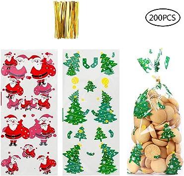 100 St/ück Weihnachten S/ü/ßigkeiten T/üten,Candy Bar S/ü/ßigkeiten T/üten,Klarsichtbeutel Folienbeutel,S/ü/ßigkeiten Taschen,Weihnachten S/ü/ßigkeiten Tasche,Transparent Cellophant/üten