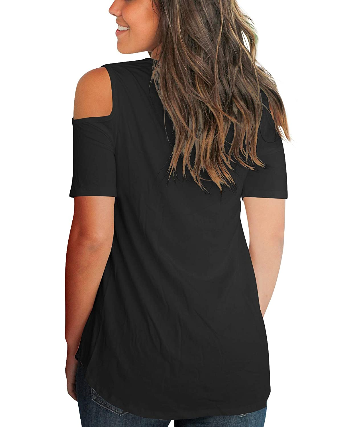 eed473faa65 Aolakeke Cold Shoulder Short Long Sleeve T Shirts V Neck Tops Casual Criss  Cross Tunic Blouse at Amazon Women s Clothing store