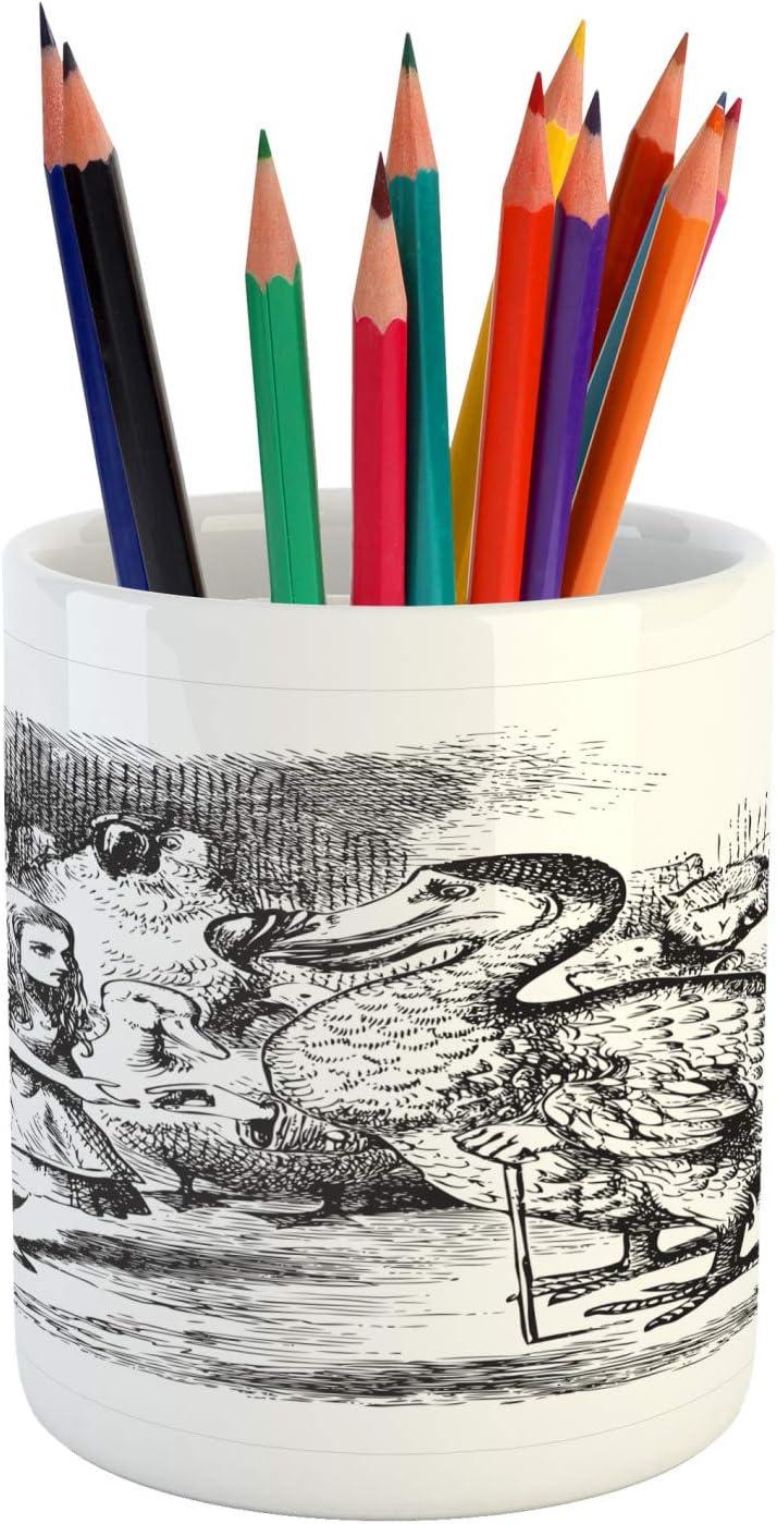 "Ambesonne Alice Pencil Pen Holder, Alice in Wonderland with Dodo Animal Adventures Big Bird Sketch Children Theme, Ceramic Pencil Holder for Desk Office Accessory, 3.6"" X 3.2"", White Black"