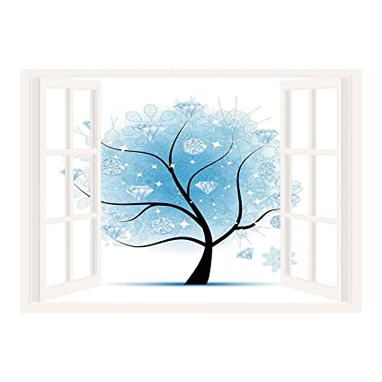 36e9eaf1887b SCOCICI Removable Wall Sticker/Wall Mural/Tree,Fairy Floral Winter Tree  with Diamond