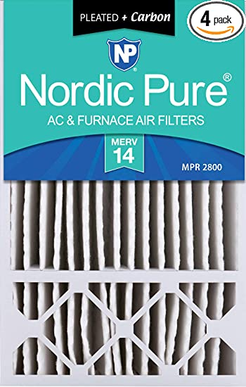 MERV 10 Pleated Plus Carbon AC Furnace Air Filters 3-5//8 Actual Depth 1 Pack 16 x 25 x 4 1 Pack 16 x 25 x 4 Nordic Pure 16x25x4
