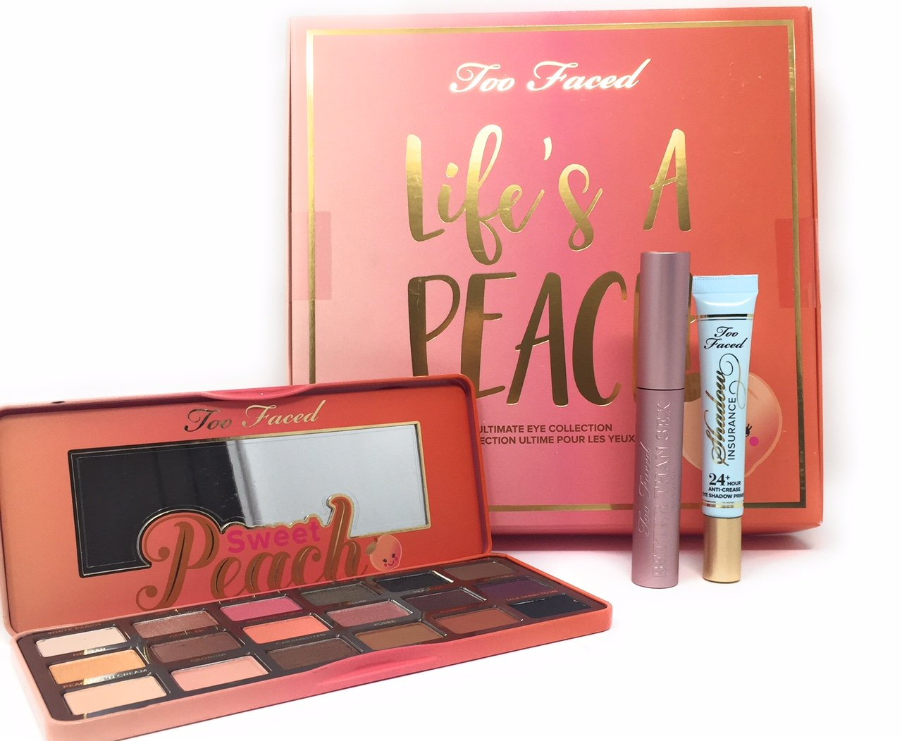 Too Faced Life s A Peach Ultimate Eye Collection Set Palette Better Than Sex Mascara Plus Primer