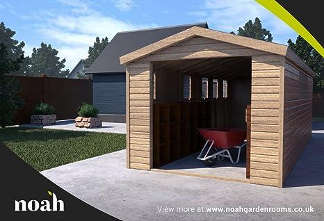 10 x 10 (pies) Hamstead Garage Heavy Duty de madera cobertizo/taller/garaje: Amazon.es: Jardín