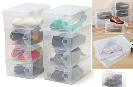 Cajas de plástico para almacenamiento de zapatos, plegables, apilables, organizador para casa,