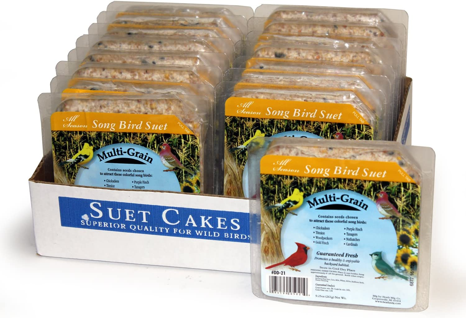 Heath Outdoor Products DD-21 Multi Grain Suet Cake, Case Of 16
