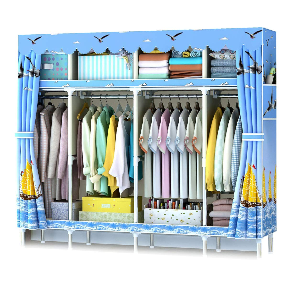 HSBAIS 衣服クローゼットオーガナイザーとストレージ、布製ワードローブ棚、寝室、防湿および防虫用クローゼットシステム,B_79.9x17.7x66.9inch B07KK5M8ST B 79.9x17.7x66.9inch